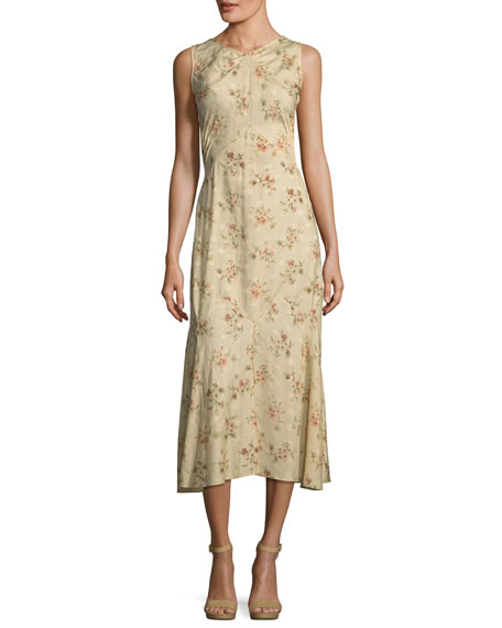 Melena Sleeveless Floral-Print Jacquard Midi Dress