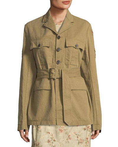 Afton Button-Front Twill Safari Jacket