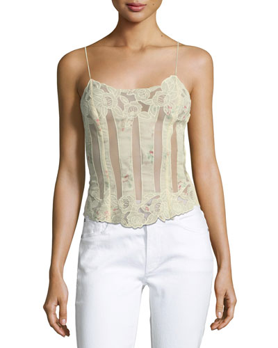 Pauline Spaghetti-Strap Sheer Embroidered Tank