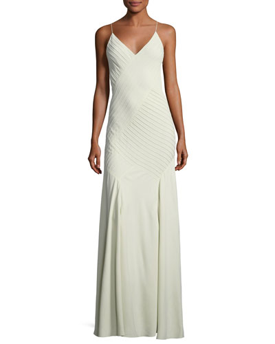 Augustina V-Neck Sleeveless Pintucked Evening Gown