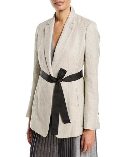 Cotton/Linen Blazer Jacket w/ Tie Waist