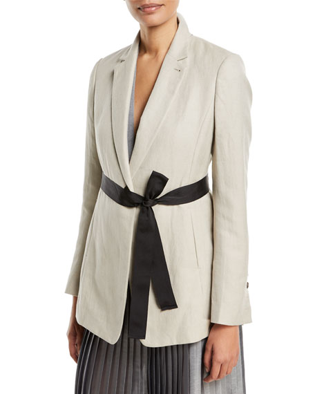 Cotton/Linen Blazer Jacket w/ Tie Waist