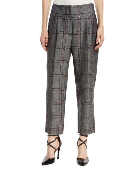 Cotton/Linen Check Paillette Pants