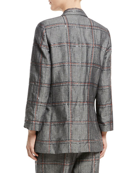 Cotton/Linen Check Paillette Blazer Jacket