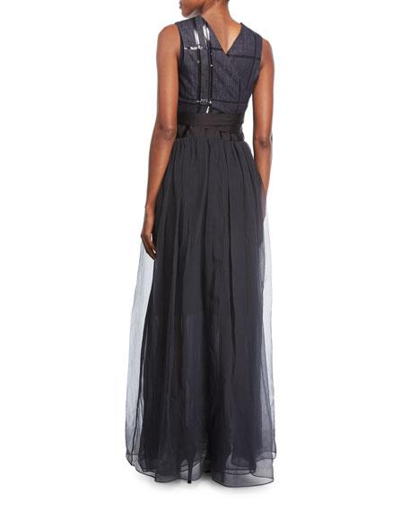 Sequined Tie-Waist Combo Gown