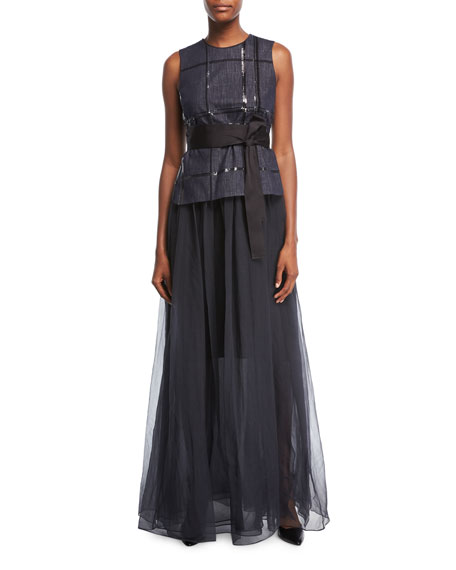 Sequined Tie-Waist Combo Gown