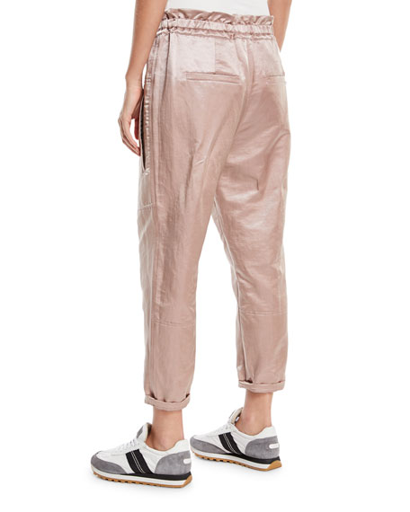 Shiny Linen-Blend Drawstring Utility Pants