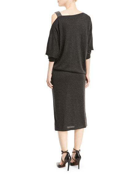 Cinched-Waist Cashmere/Silk Dress w/ Monili Cold Shoulder
