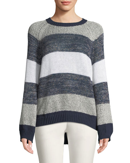 Waxed Linen-Silk Rugby Stripe Crewneck Pullover