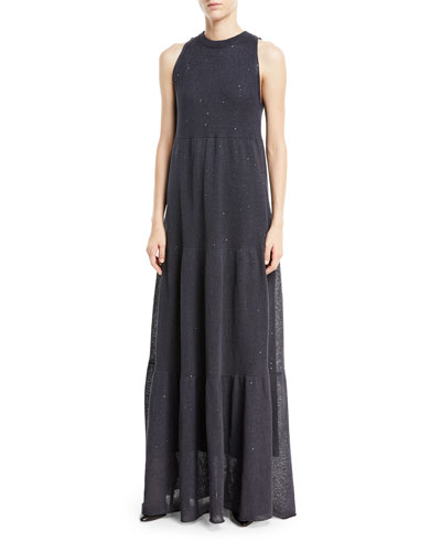 Linen/Silk Paillette Tiered Sleeveless Gown