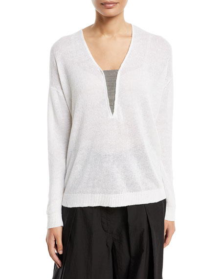 Linen/Silk V-Neck Sweater w/ Monili Insert