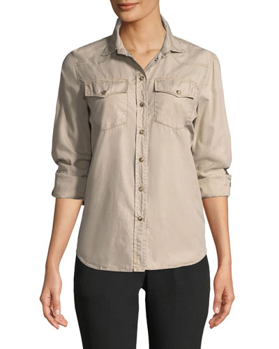 Button-Down Western-Style Classic Fit Cotton Shirt