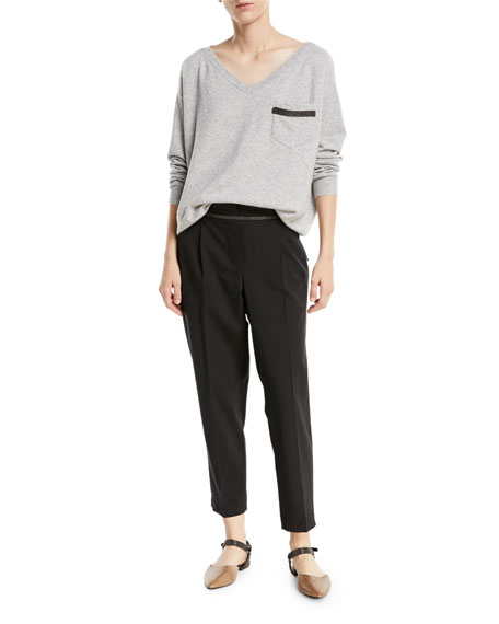 Lightweight Wool-Blend Tacked Pants w/ Monili Trim