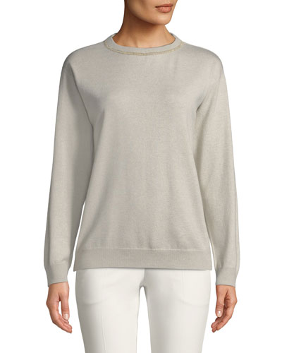 Crewneck Long-Sleeve Cashmere Sweater w/ Monili Trim