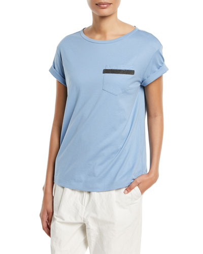 Cotton Pocket Tee w/ Monili Trim