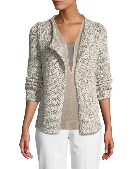 One-Button Tweed Knit Cardigan