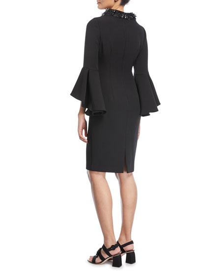 Beaded Mock-Neck Flare-Sleeve Cocktail Dress