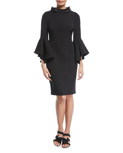 Beaded Mock-Neck Flare-Sleeve Cocktail Dress
