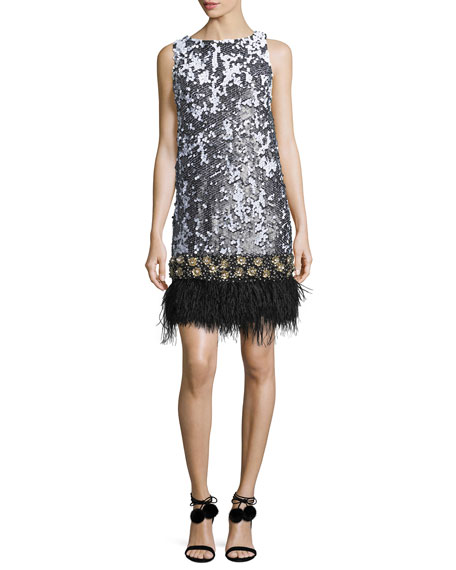 Sleeveless Sequined Feather-Hem Dress