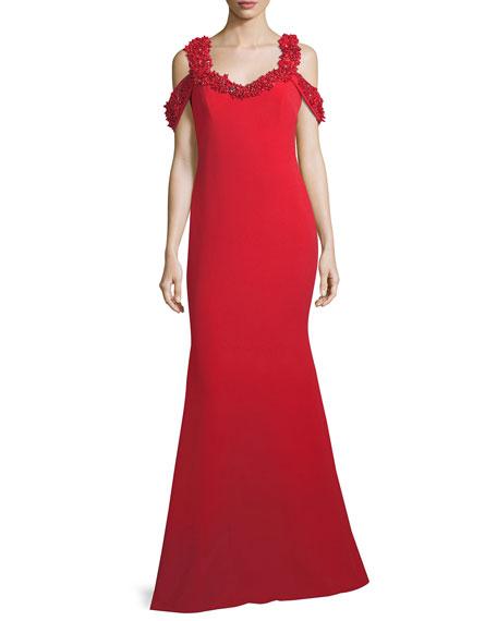 Beaded Cold-Shoulder Mermaid Gown