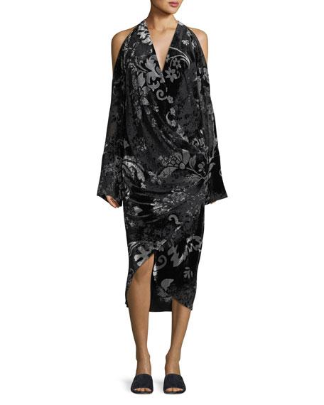 URBAN ZEN Convertible Velvet Devore Cold-Shoulder Dress in Black