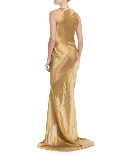 Metallic Sleeveless Wrap-Front Gown