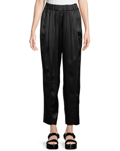Cropped Satin Crepe Pants