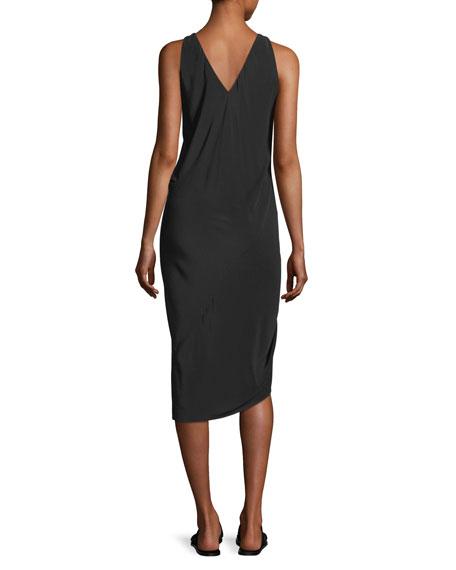 Sleeveless Draped Silk Dress