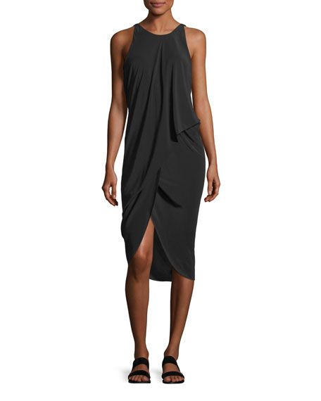 Sleeveless Draped Silk Dress