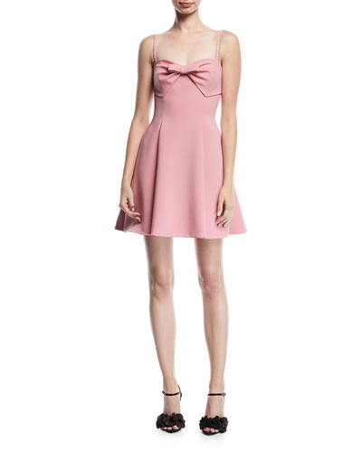 Crystal-Strap Cady Cocktail Dress