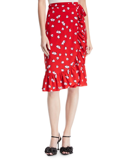 Strawberry-Print Wrap Skirt