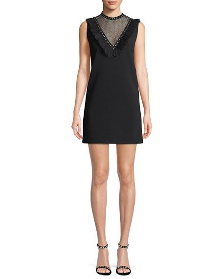 Sleeveless Crystal-Studded Cady Cocktail Dress
