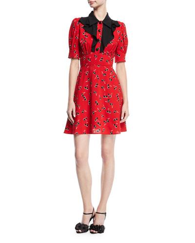 Short-Sleeve Cherry-Print Shirtdress