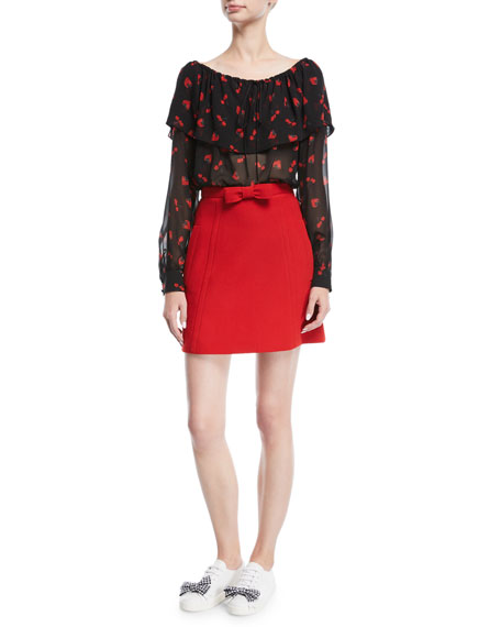 Bow-Front Mini Skirt