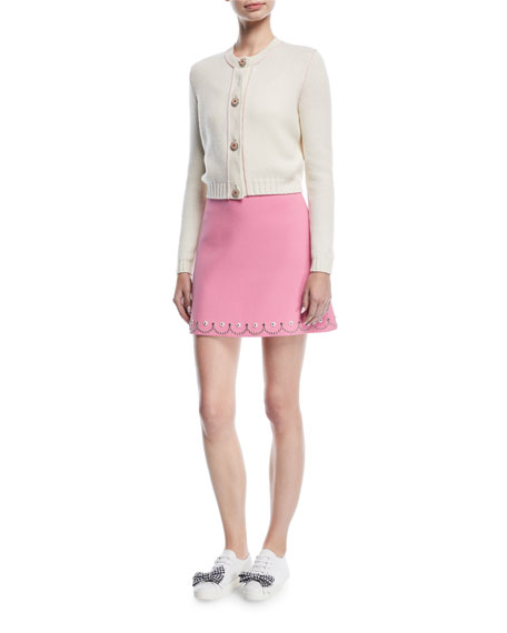 Scallop-Studded Mini Skirt