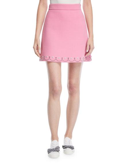 Scallop-Studded Mini Skirt