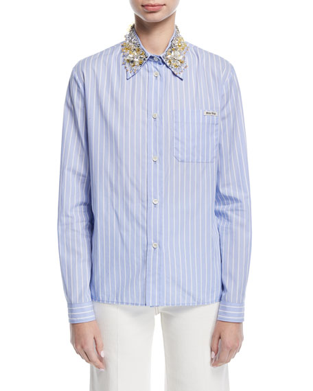 Striped Blouse w/Jeweled Collar