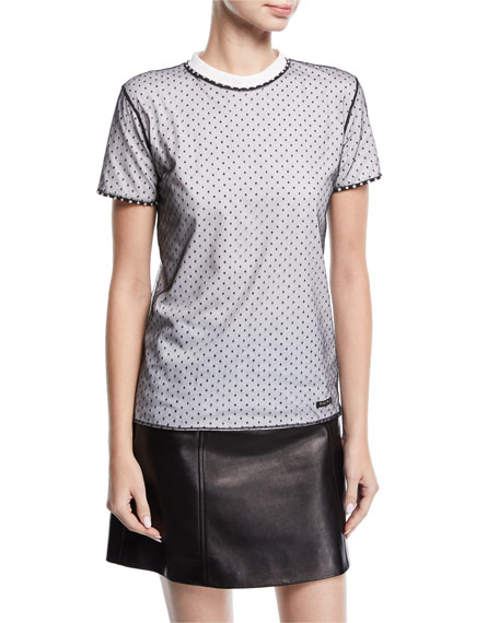 Crystal-Trim Swiss Dot T-Shirt