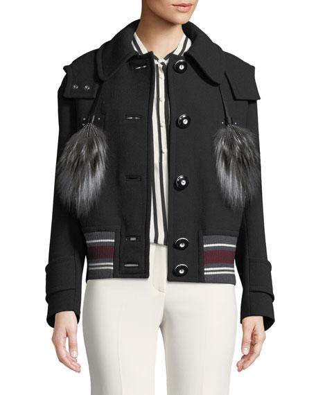 Wool Coat with Fur Tassels