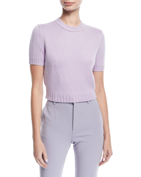 Knit Short-Sleeve Crop Sweater