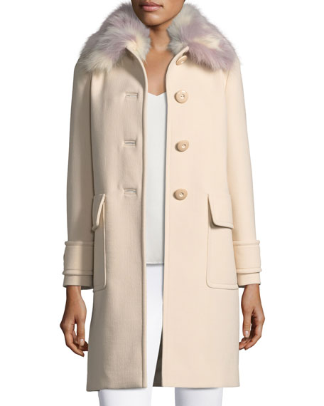 Button-Front Cashmere Coat with Fur Collar
