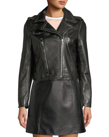 Studded Lamb Leather Moto Jacket w/ Stars