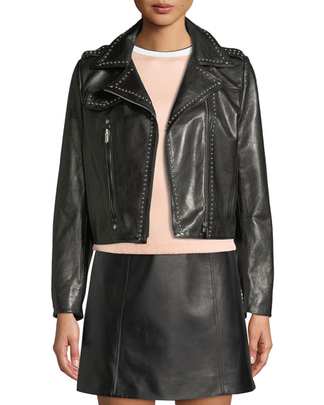 Miu Miu Studded Lamb Leather Moto Jacket w/