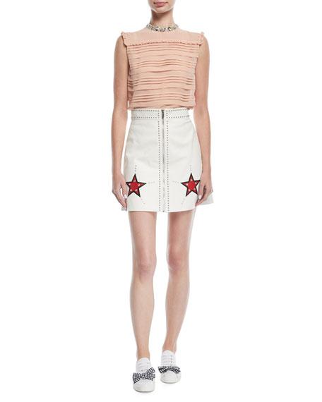 Star-Embellished Leather Skirt