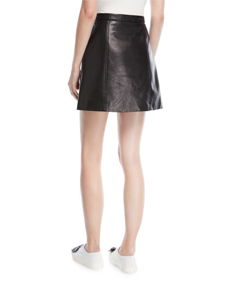 Bow-Front Leather Midi Skirt