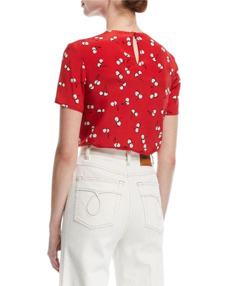 Short-Sleeve Cherry-Print Top