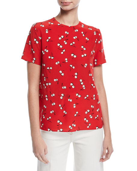 Short-Sleeve Cherry-Print Top