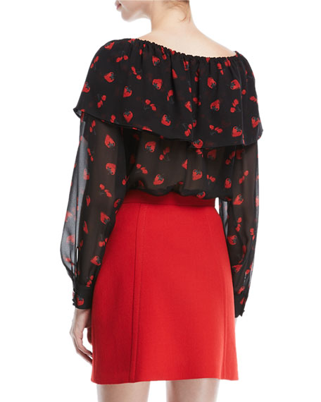 Cherry-Print Georgette Off-Shoulder Top