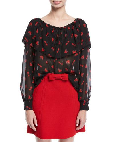 Cherry-Print Georgette Off-Shoulder Top