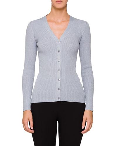 Metallic Long-Sleeve V-Neck Cardigan Sweater